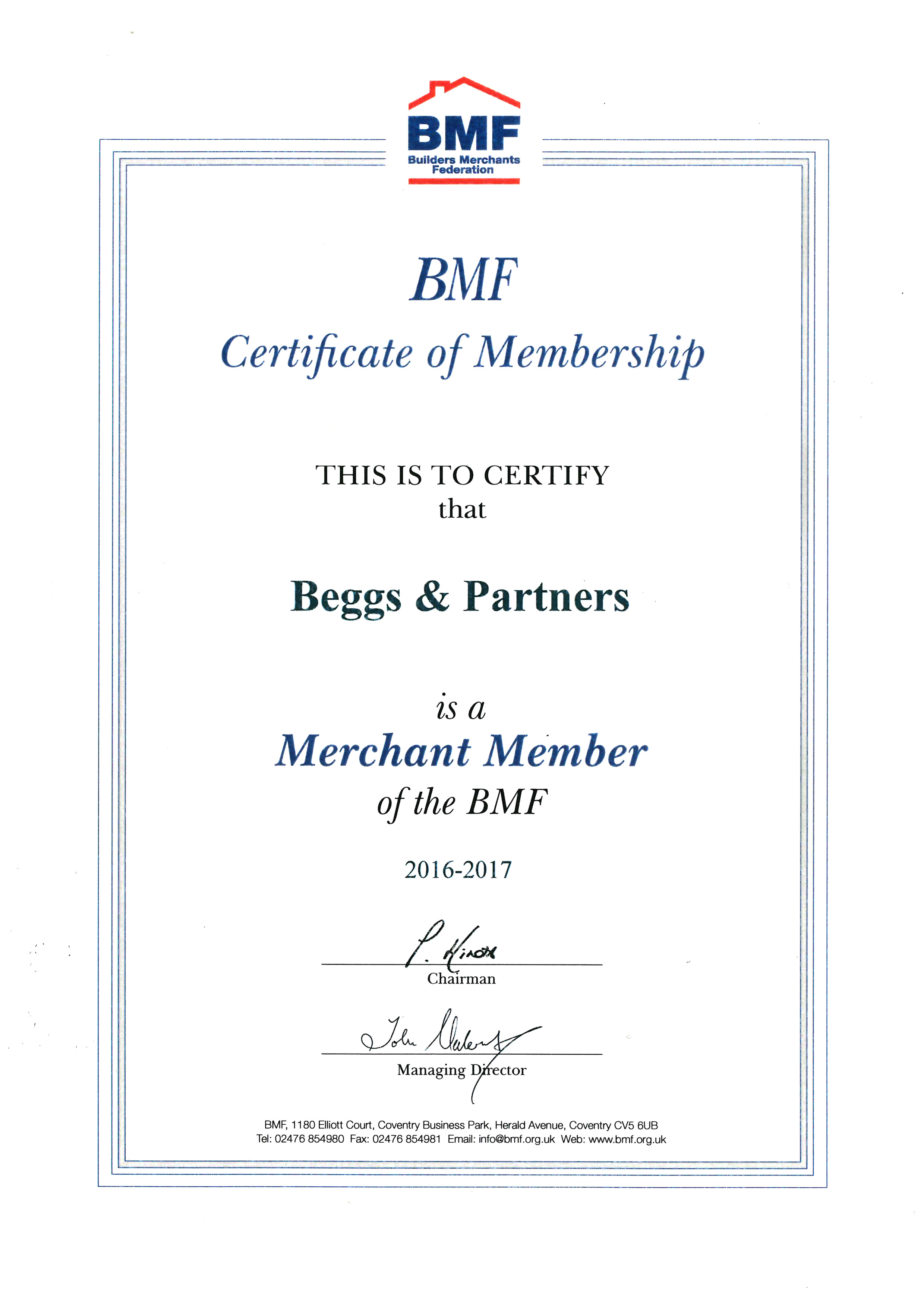 BWF Certification 2016