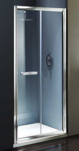 Flair Namara 900mm Clear Glass Bifold Door Silver Frame