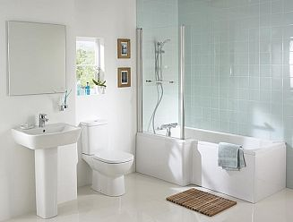 Ideal Standard Concept square showering bath with Tempo bathroom suite